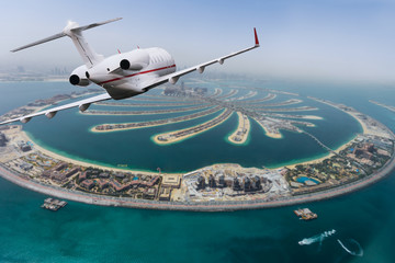 Dubai Palm artificial Island with private jet