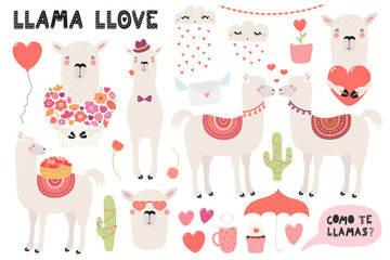 Poster Illustrations Big Valentines day set with cute funny llamas, hearts, text, Spanish Como te llamas, Whats you name. Isolated objects on white. Hand drawn vector illustration. Flat design. Concept for children print