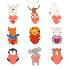 Poster Illustrations Big Valentines day set with cute funny animals holding hearts. Isolated objects on white background. Hand drawn vector illustration. Scandinavian style flat design. Concept for card, children print.