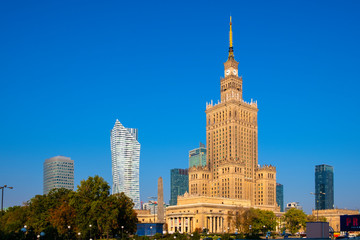 Warsaw, Poland - Warsaw city center with Culture and Science Palace - PKiN - and skyscrapers of...