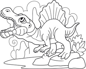 cartoon predatory dinosaur spinosaurus, coloring book, funny illustration