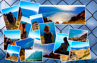 Photo collage on the background of the grid, the sky. View of the sea coast, mountain ranges. The concept of tourism. With copy space.