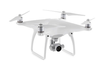 Close up on DJI Phantom Advanced drone, isolated on white background