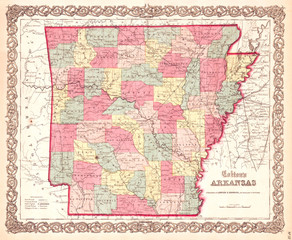 1859, Colton Map of Arkansas