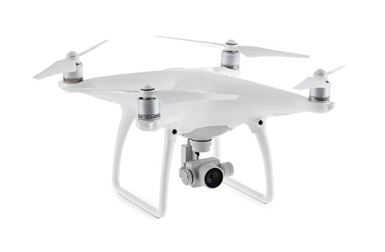 Close up on DJI Phantom Advanced drone, isolated on white background