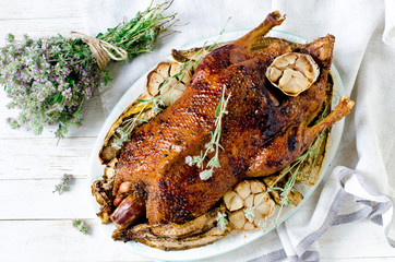 Baked duck with garlic and vegetables