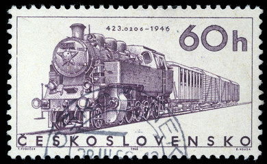Stamp printed in Czechoslovakia showing the '423.0206' Locomotive of 1946, circa 1965.