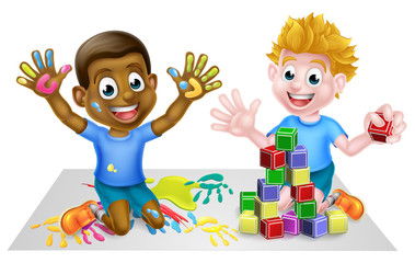 Cartoon boys playing with toys, with paints and toy building blocks