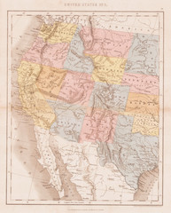 1864, Dower Map of the Western United States