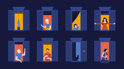 People in window frames. Neighbors evening live in apartments. Night. The facade of the house. Vector flat illustration