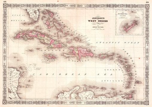 Old Map of the West Indies and Caribbean 1864, Johnson