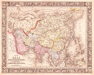 1864, Mitchell Map of Asia