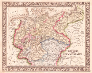 1864, Mitchell Map of Prussia and Germany