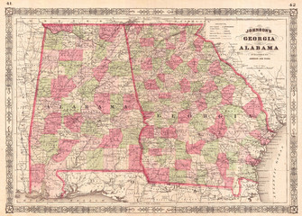 1865, Johnson Map of Georgia and Alabama