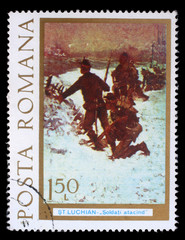 "Stamp printed by Romania, shows picture ""Infantry attack in winter"" by Stefan Luchian, circa 1977"