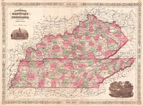 Old Map of Kentucky and Tennessee, 1866, Johnson