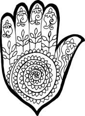 Illustrayion of a hamsa with an ornament in the style of mehendi.