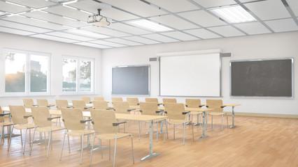 Fototapeta Classroom interior. 3D illustration. obraz