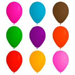Illustration on theme big colored set different types inflatable rubber balloons