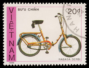 Stamp printed by Vietnam shows bicycle Rabasa Derbi, circa 1988