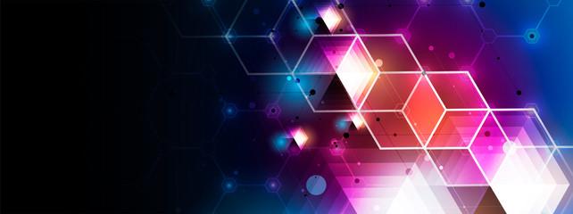 Abstract hexagon background. Technology poligonal design. Digital futuristic minimalism