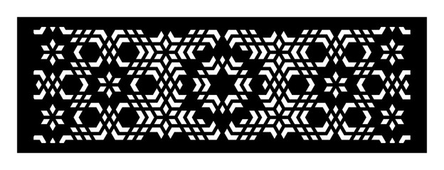 decorative vector panels for laser cutting. Template for interior partition in arabesque style. Aspect ratio 1:3