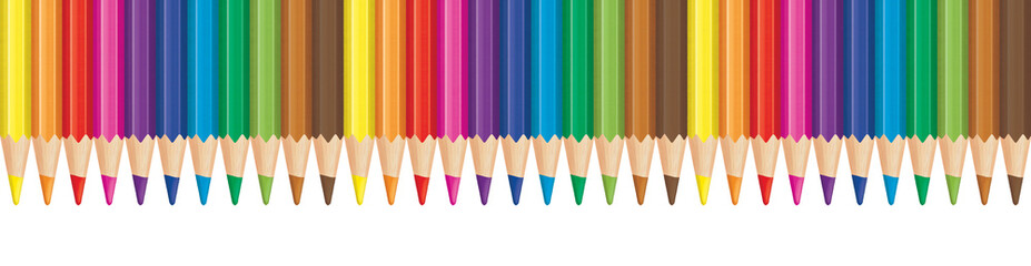 Rainbow color pencil aligned in row. Panorama illustration. Wall mural