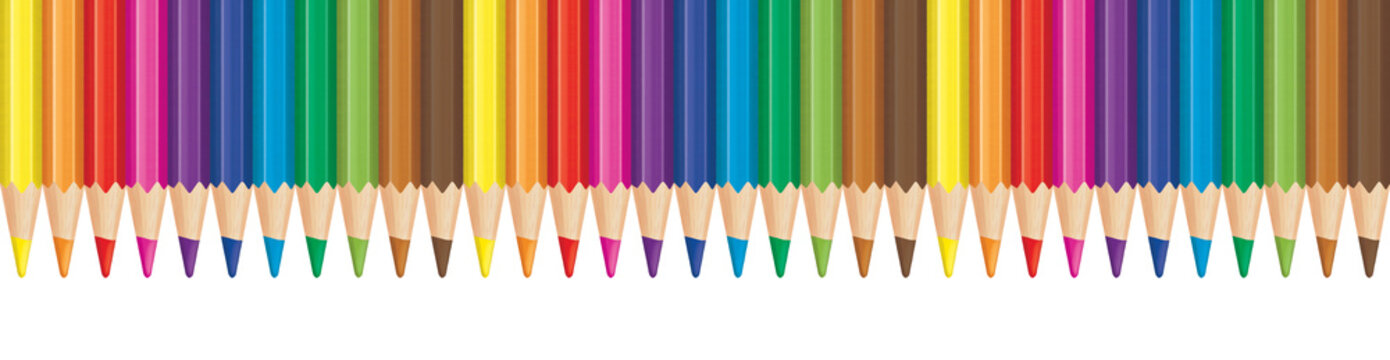 Rainbow color pencil aligned in row. Panorama illustration.