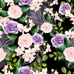 Watercolor pattern with green leaves, rose and orchids flowers.