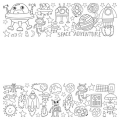 Vector set of space elements icons in doodle style. Painted, black monochrome, pictures on a piece of paper on white background.