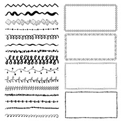 set of hand-drawn doodle frames. Sketch borders