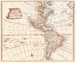 Fototapete - Map of North America and South America, Western Hemisphere, 1747 Bowen