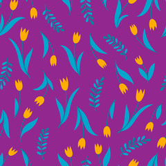 Vector seamless pattern with tulip on violet