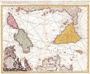 1762, Homann Heirs Map of Sicily, Sardenia, Corsica and Malta, ITALY