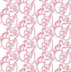 Human hear seamless pattern. Vector icons on the wight background. Medicine cartoon doodle icons.