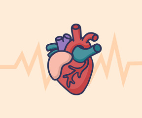 Human heart concept. Healthcare & Medical logo concept. Vector illustration in cartoon doodle style.