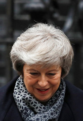 Britain's Prime Minister Theresa May leaves Downing Street, as she faces a no confidence vote after Parliament rejected her Brexit deal, in London