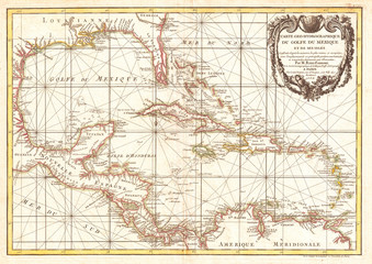 Fototapete - Old Map of Central America and the West Indies, Caribbean 1762, Zannoni