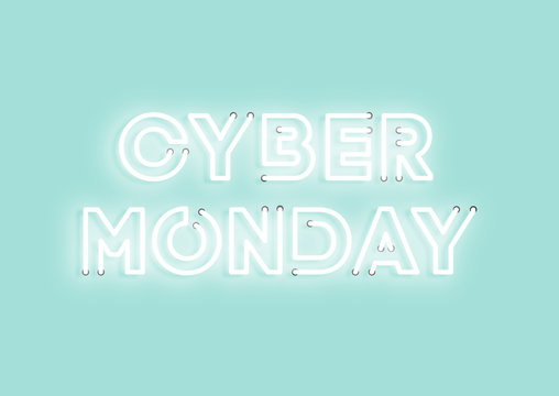 Cyber monday sale mint neon electric letters illustration. Concept of advertising for seasonal offer with glowing neon text.