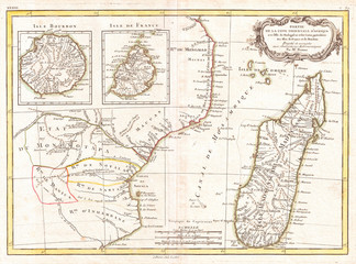 Fototapete - 1770, Bonne Map of East Africa, Madagascar, Isle Bourbon and Mauritius, Mozambique, Rigobert Bonne 1727 – 1794, one of the most important cartographers of the late 18th century