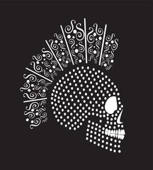 Punk skull icon halftone with Mohawk, abstract background vector illustration