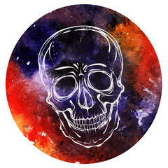 Halloween. Watercolor background. Skull . Handmade. Vector illustration