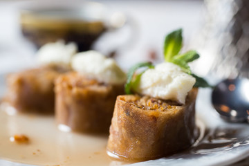Baklava. Traditional dessert with honey and sour cream