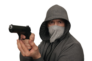 The man fires from a gun. White background