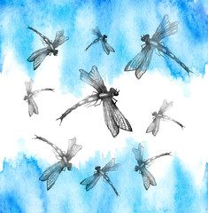 Watercolor illustration. Dragonfly flies against the blue sky. Abstract paint splash. Stylish drawing. Dragonfly Graphic Realistic Line Ink Drawing. Hand-drawn illustration.  Watercolor card.