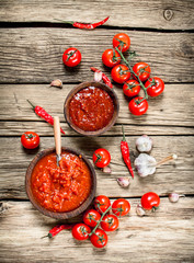 Tomato sauce with spices.