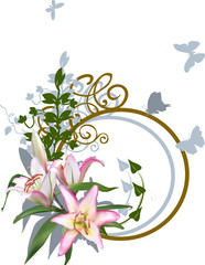 light pink lily flowers design with shadow
