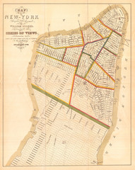 1831, Hooker Map of New York City, 1871 reissue