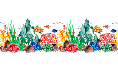 Underwater creatures seamless repeat border with multicolored corals,seashells,seaweeds,fish,turtle,seahorse.Perfect for invitations,party decorations,printable,craft project,greeting cards,texture.