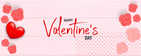Valentines Day wood 3d vector background